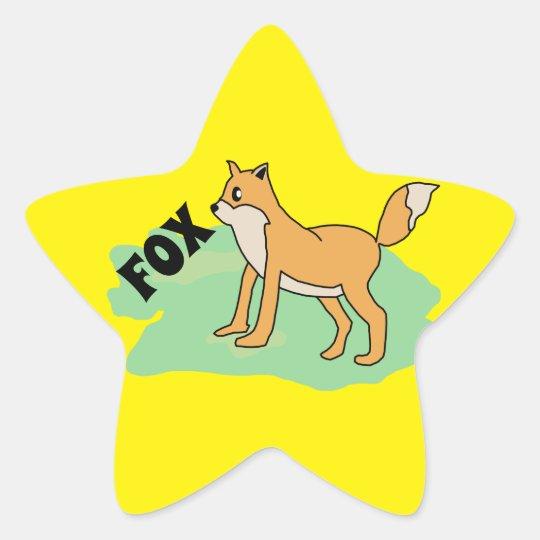 fox in the field star sticker