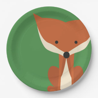 Fox in the Forest Green Party Plates