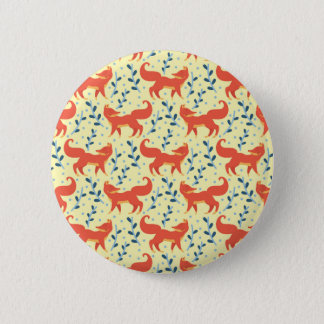 Fox in The Forest Vector Seamless Pattern 2 Inch Round Button