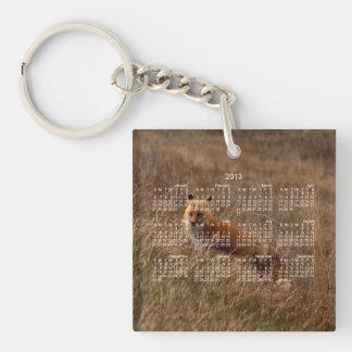 Fox in the Grass; 2013 Calendar Single-Sided Square Acrylic Keychain