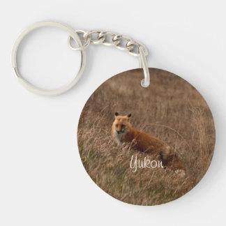 Fox in the Grass; Yukon Territory Souvenir Single-Sided Round Acrylic Keychain