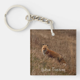 Fox in the Grass; Yukon Territory Souvenir Single-Sided Square Acrylic Keychain