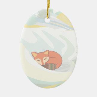 Fox in Winter Ceramic Ornament