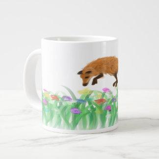 Fox Jumping into Meadow on a Mug