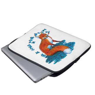 Fox Kitsune Surreal Butterfly Fantasy Dreamscape Laptop Sleeve