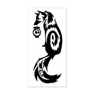 Fox Kitsune Tribal with Spirit Lantern Rubber Stamp