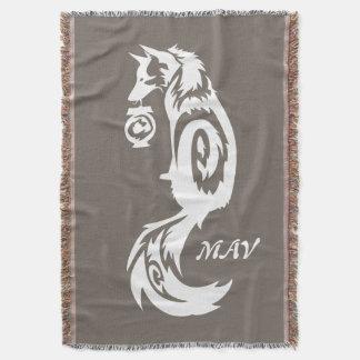Fox Kitsune Tribal with Spirit Lantern Throw Blanket