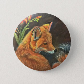 fox landscape paint painting hand art nature 2 inch round button