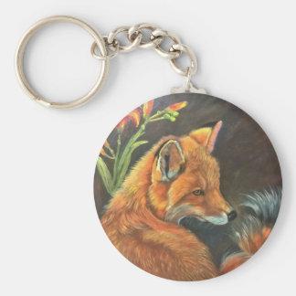 fox landscape paint painting hand art nature basic round button keychain