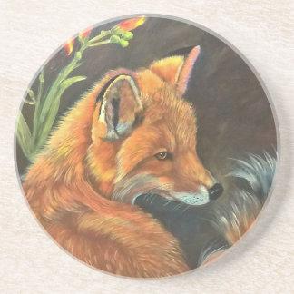 fox landscape paint painting hand art nature beverage coasters