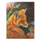 fox landscape paint painting hand art nature postcard