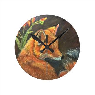 fox landscape paint painting hand art nature round clock