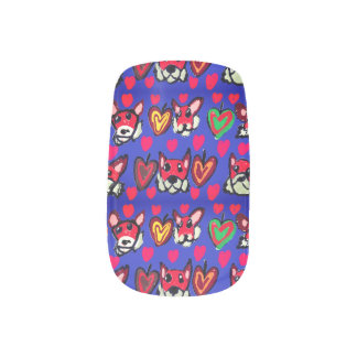 fox leaves heart minx nail art