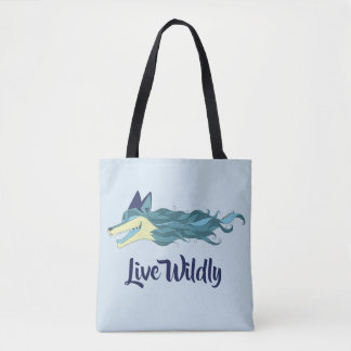 Fox Live Wildly Tote Bag Blue