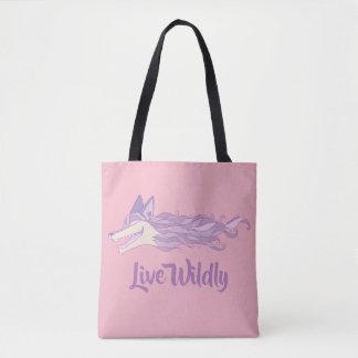 Fox Live Wildly Tote Bag Pastel Pink