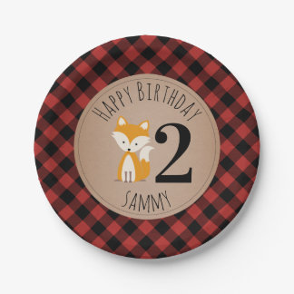 Fox Lumberjack Plaid Baby Birthday Paper Plate