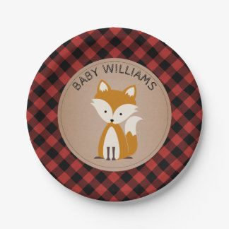 Fox Lumberjack Plaid Baby Shower Paper Plate
