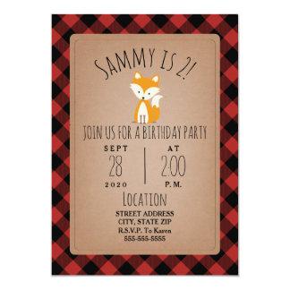 Fox Lumberjack Plaid Birthday Party Card
