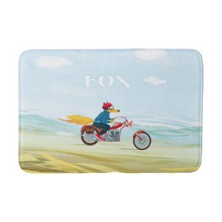 Fox-Man On A Red Motorcycle Bathroom Mat