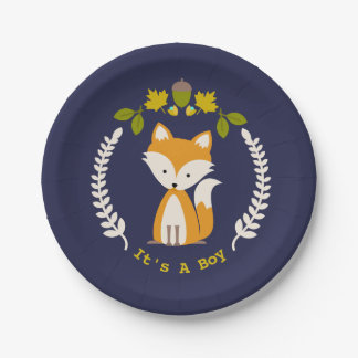 Fox Modern Boy Baby Shower Paper Plate