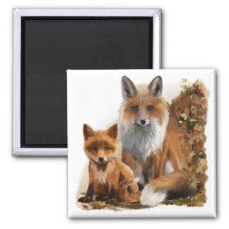 Fox mom and cub magnet