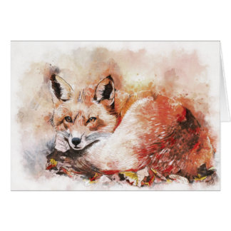 Fox Nap Watercolour Blank Greeting Card