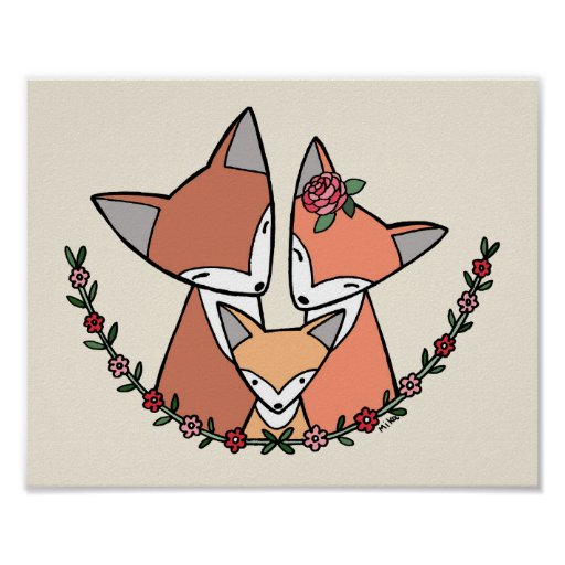 Fox Nursery Art Print Fox Family Poster Cute Fox