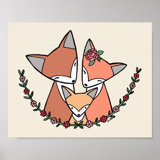 Fox Nursery Art Print Fox Family Poster Cute Fox