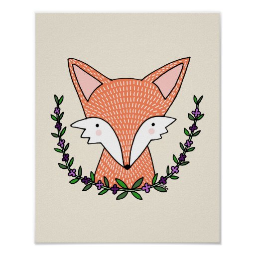 Fox Nursery Art Print Fox Nursery Decor Poster
