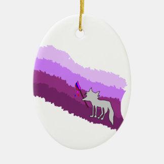 Fox of Colors Ceramic Oval Ornament