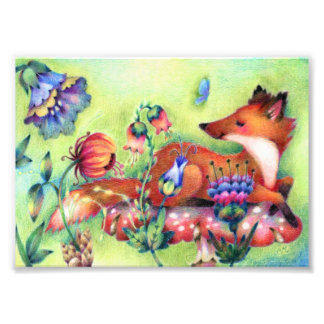 Fox on a Mushroom - Cute Animal Art Photo Print