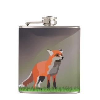 Fox on meadow hip flask