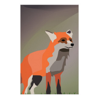 Fox on meadow stationery paper
