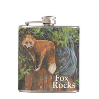 Fox on the Rocks Painting Hip Flask