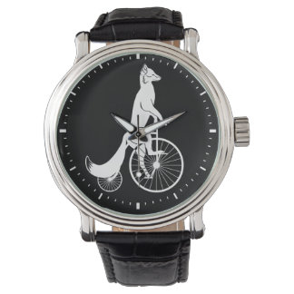 Fox on Vintage Penny Farthing Bike Watch