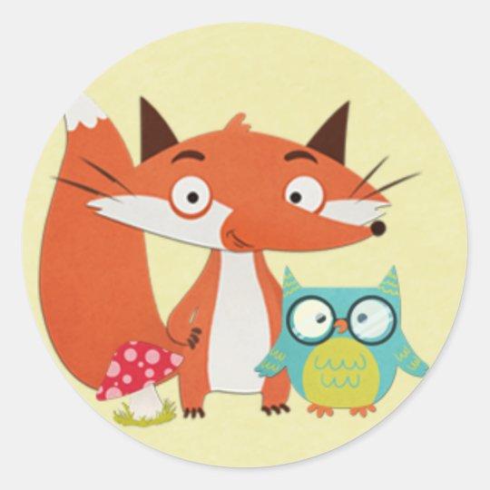 Fox Owl and Mushroom on Yellow Classic Round Sticker