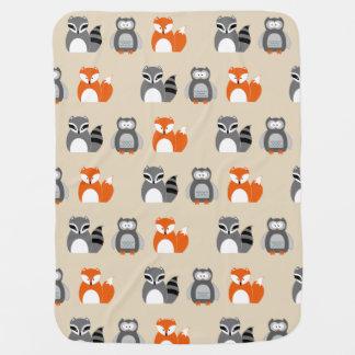 Fox, Owl and Raccoon Baby Blanket