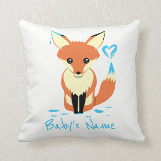Fox Painting Blue Heart Baby Name Pillow