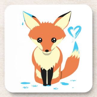 Fox Painting Blue Heart Cute Hard Plastic Coaster