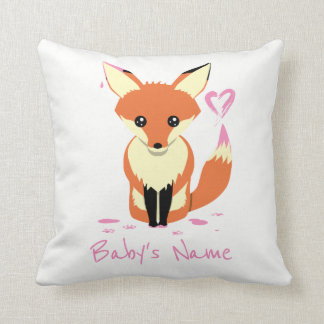 Fox Painting Pink Heart Baby Name Pillow