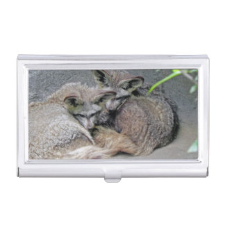 Fox Pair Adorable Bat-eared | Nature Photo Business Card Cases