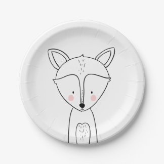 Fox Paper Plates Baby shower Woodland animals Cute