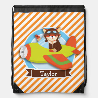 Fox Pilot in Green & Orange Airplane Drawstring Bag