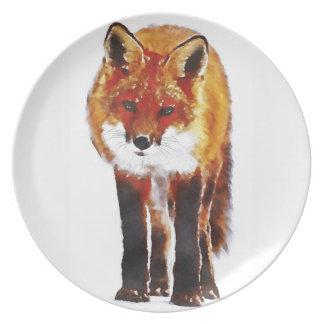 fox plate, fox melamine dish, fox gift plate