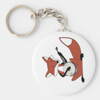 Fox Playing the Banjo Basic Round Button Keychain