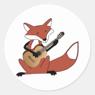 Fox Playing the Guitar Round Sticker
