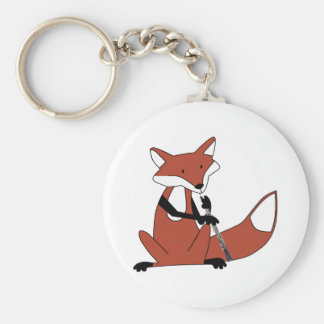 Fox Playing the Oboe Basic Round Button Keychain