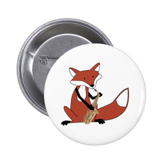 Fox Playing the Saxophone 2 Inch Round Button