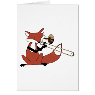 Fox Playing the Trombone Card