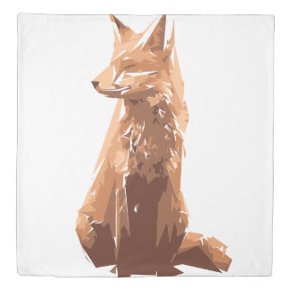 Fox polygon art illustration duvet cover